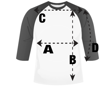 Mens Raglan T-Shirt Size Guide